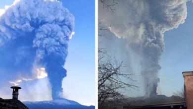 Photo of Látványos videókon a 10 kilométer magasba füstöt okádó Etna legfrissebb kitörése