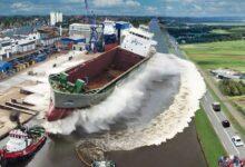 Photo of Látványos felvételek a nagy hajók első vízre bocsátásáról